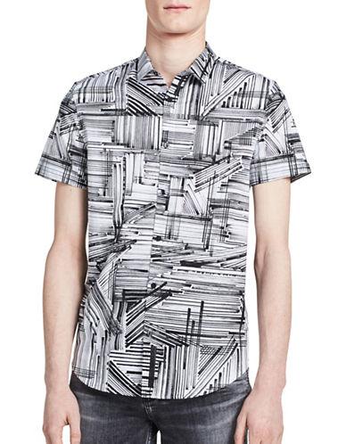 Calvin Klein Printed Short-Sleeved Sport Shirt-WHITE-Small
