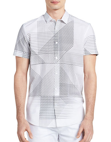 Calvin Klein Slim-Fit Linear-Print Cotton Shirt-WHITE-Large