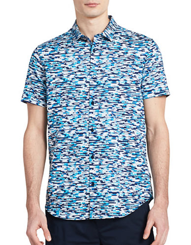 Calvin Klein Multi Pixelated Slim-Fit Shirt-BLUE-X-Large