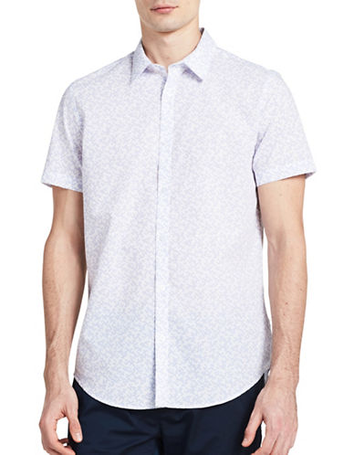 Calvin Klein Mini Broken Grid Slim-Fit Shirt-PURPLE-X-Large