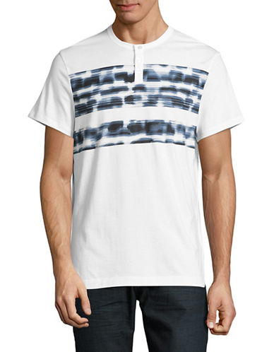 Calvin Klein Blurred Stripe Henley-BLUE-Small
