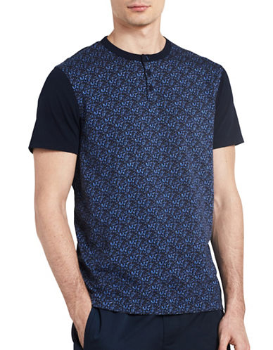 Calvin Klein Abstract Print Henley-BLUE-Large