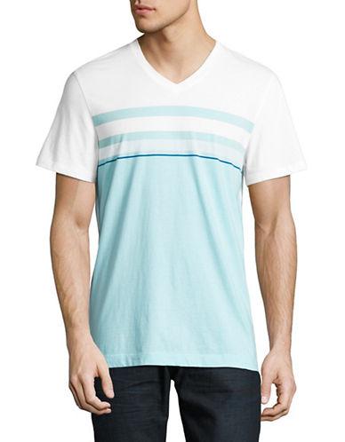 Calvin Klein Engineered Stripe V-Neck T-Shirt-BLUE-Large 89224499_BLUE_Large