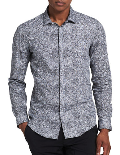 Calvin Klein Graphite-Print Cotton Shirt-GREY-Large