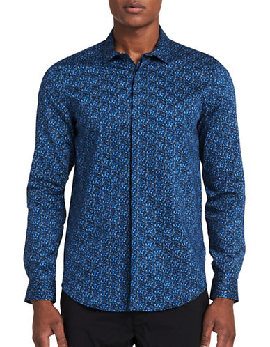 Calvin Klein Classic-Fit Print Shirt-BLUE-X-Large