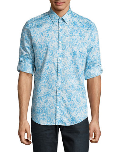 Calvin Klein Long Sleeve French Placket Floral Shirt-BLUE-Large