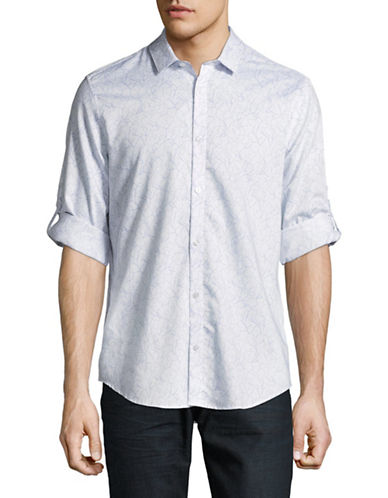 Calvin Klein Printed French Placket Shirt-WHITE-X-Large