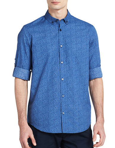 Calvin Klein Printed Roll-Tab Shirt-BLUE-Small