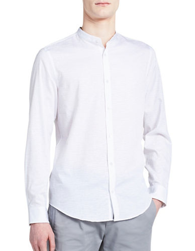 Calvin Klein Classic-Fit Band Collar Shirt-WHITE-Large