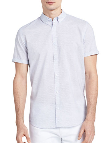 Calvin Klein Slim-Fit Graphic Deco Print Shirt-WHITE-X-Large