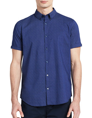 Calvin Klein Slim-Fit Graphic Deco Print Shirt-BLUE-Large