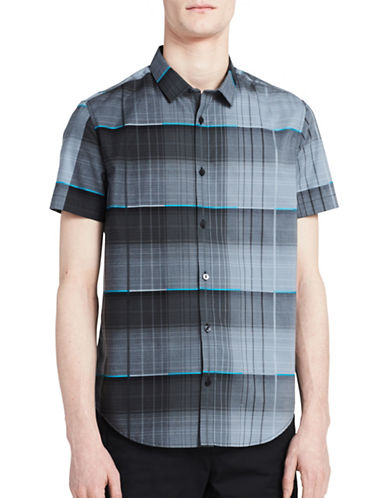 Calvin Klein Slim-Fit Stripe Print Shirt-GREY-Small