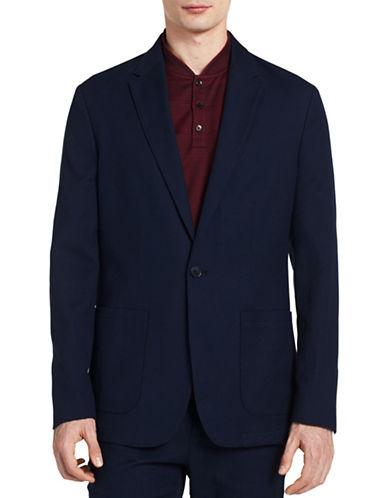 Calvin Klein Fitted Cotton Pique Blazer-BLUE-Large