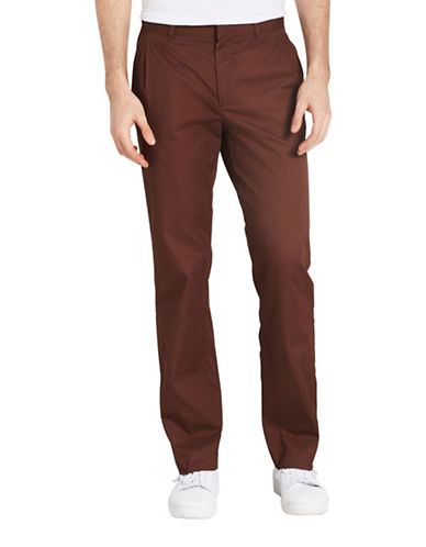 Calvin Klein Slim-Fit Cotton Pants-BROWN-32X32