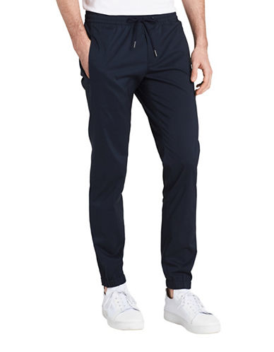 Calvin Klein Solid Slim Fit Joggers-BLUE-Small