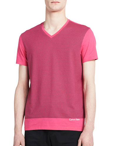 Calvin Klein Printed V-Neck T-Shirt-RED-X-Large