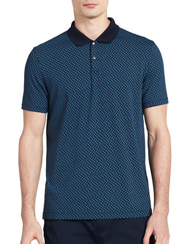 Calvin Klein Logo-Printed Stretch Polo-BLUE-Large