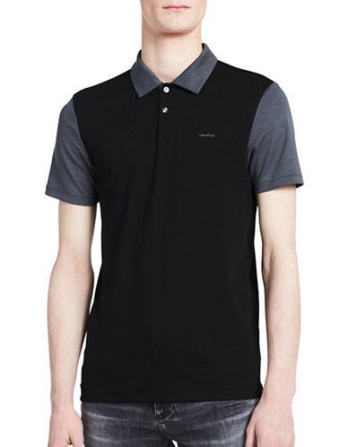 Calvin Klein Logo Colourblock Polo-GREY-Medium