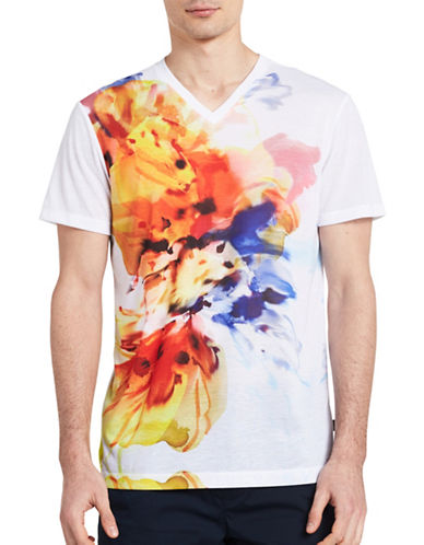 Calvin Klein Slim Fit Watercolour T-Shirt-WHITE-X-Large