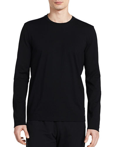Calvin Klein Crew Neck Long Sleeve Tee-BLACK-Large