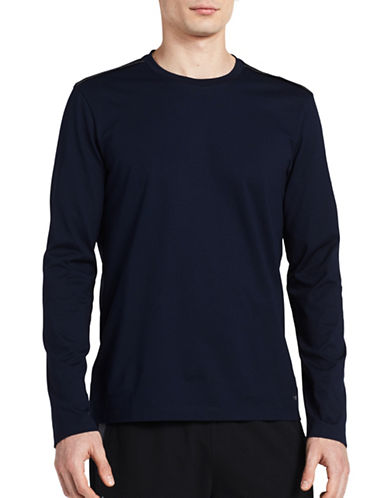 Calvin Klein Crew Neck Long Sleeve Tee-BLUE-X-Large