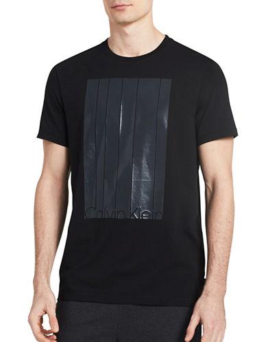 Calvin Klein Mesh Stripe Logo T-Shirt-BLACK-Small 89219582_BLACK_Small