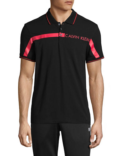 Calvin Klein Chest Stripe Polo-BLACK-Medium