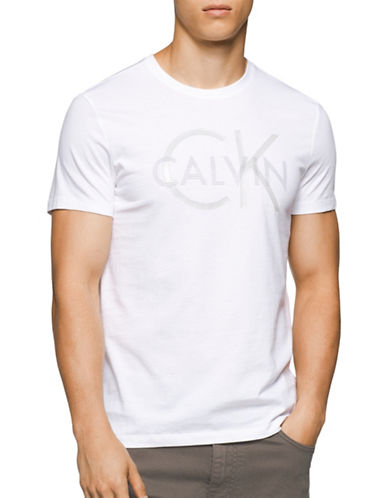 Calvin Klein Split Logo Graphic T-Shirt-WHITE-Large