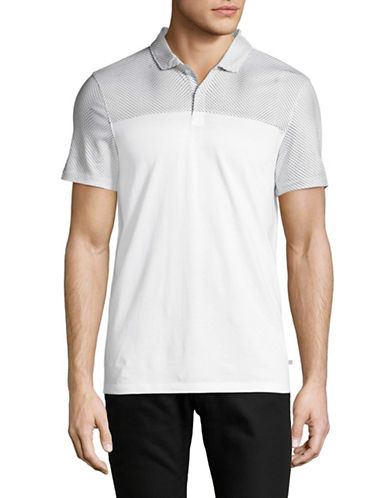 Calvin Klein Slim Fit Jersey Blocked Polo-WHITE-X-Large