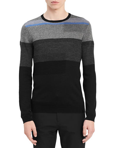 Calvin Klein Textured Stripe Wool Sweater-BLACK-Small