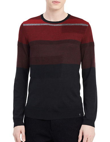 Calvin Klein Stripe Sweater-GREY-Large
