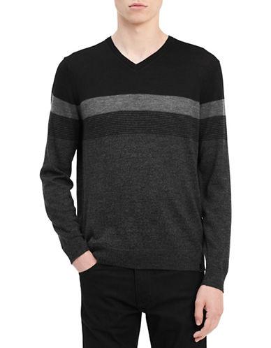 Calvin Klein Textured Stripe Wool Sweater-GREY-Large