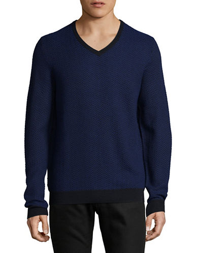 Calvin Klein Merino-Blend Herringbone Sweater-BLUE-Small