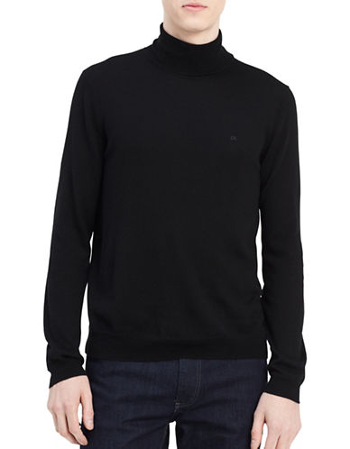 Calvin Klein Turtleneck Wool Sweater-BLACK-Large