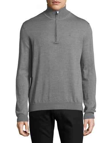 Calvin Klein Zip Merino Wool Sweater-GREY-Small
