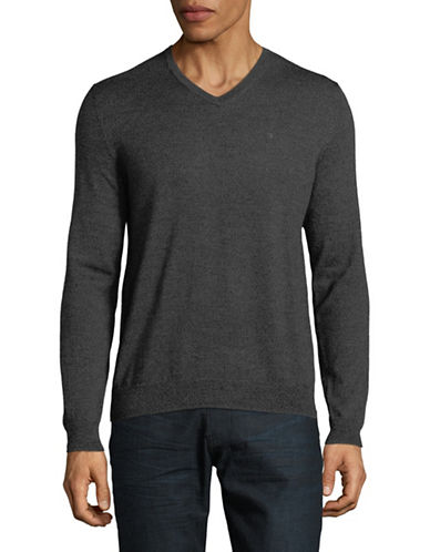 Calvin Klein V-Neck Wool Sweater-CHARCOAL-Small 89747268_CHARCOAL_Small