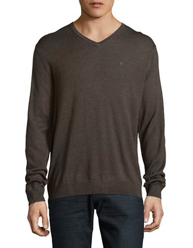 Calvin Klein Merino Wool V-Neck Sweater-BROWN-X-Large