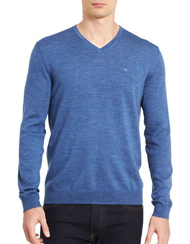 Calvin Klein V-Neck Wool Sweater-BLUE-Small