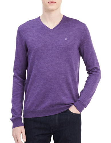 Calvin Klein V-Neck Wool Sweater-PURPLE-Medium