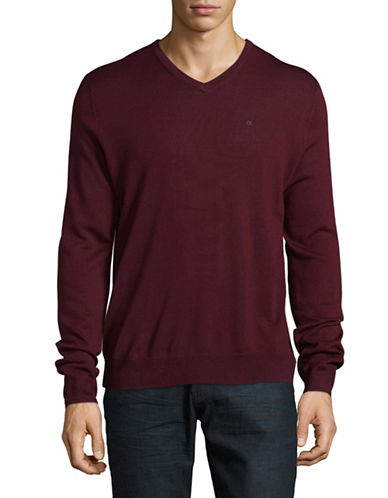 Calvin Klein Viterbo V-Neck Merino Wool Sweater-RED-Small