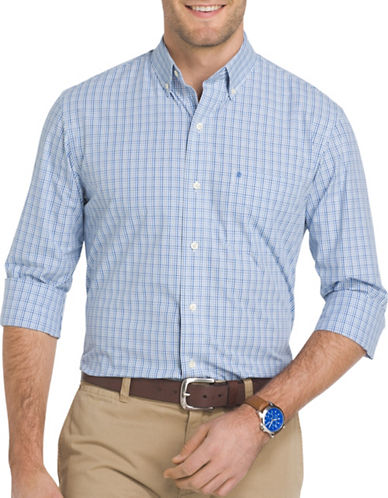 Izod Essential Mini Tattersall Check Woven Poplin Shirt-BLUE-Large