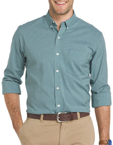 Izod Advantage Gingham Check Shirt-GREEN-Large