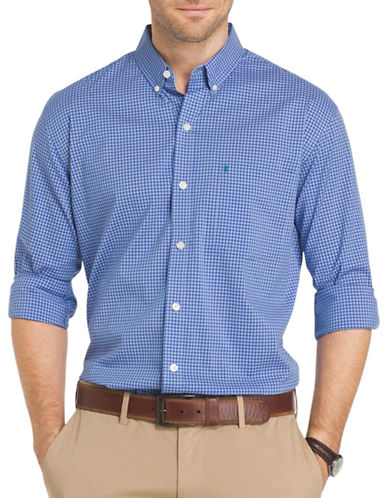 Izod Advantage Gingham Check Shirt-BLUE-XX-Large