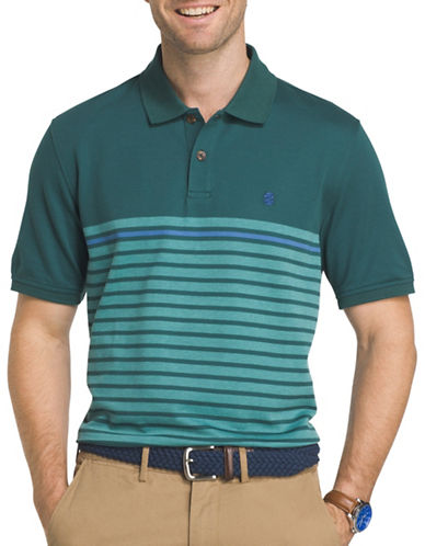 Izod Engineered Stripe Polo-GREEN-Small