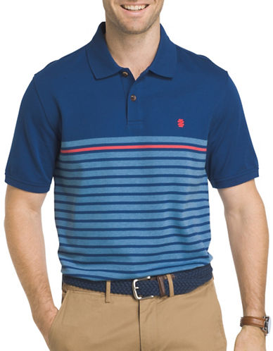 Izod Engineered Stripe Polo-BLUE-Large