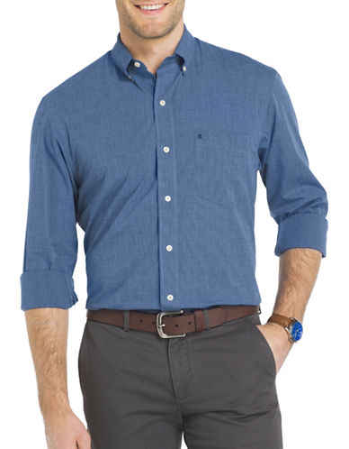 Izod Essential Woven Poplin Shirt-BLUE-Large
