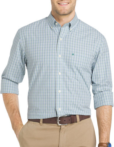 Izod Essential Mini Tattersall Check Woven Poplin Shirt-SEA BLUE-Small