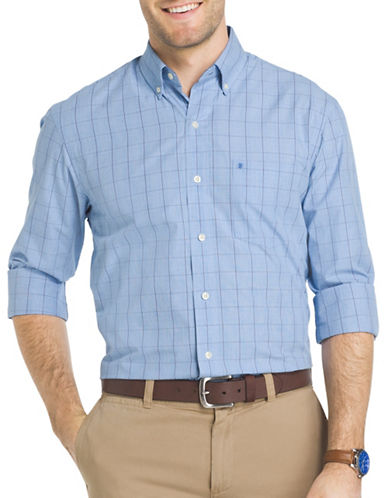 Izod Essential Windowpane Check Woven Poplin Shirt-BLUE-Large
