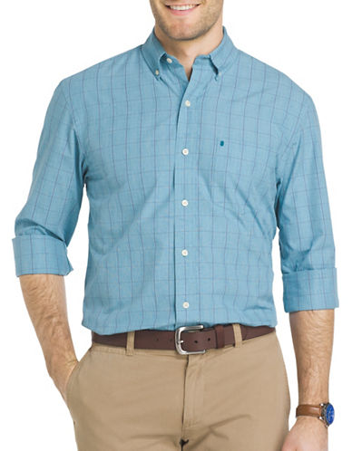 Izod Essential Windowpane Check Woven Poplin Shirt-SAX BLUE-Medium