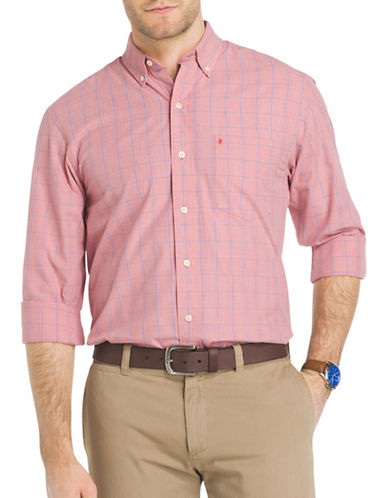 Izod Essential Windowpane Check Woven Poplin Shirt-RED-X-Large